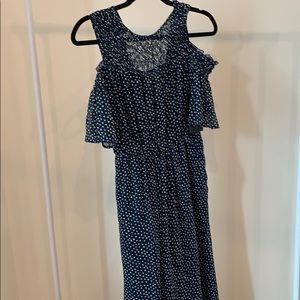 Blue and polka dot maxi dress